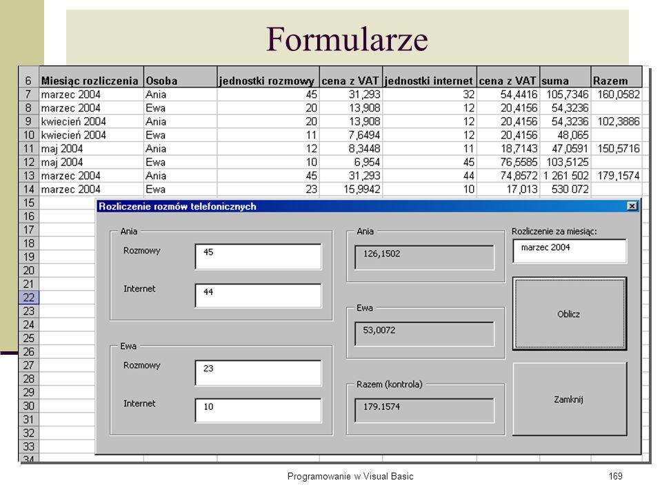 Programowanie w Visual Basic169 Formularze