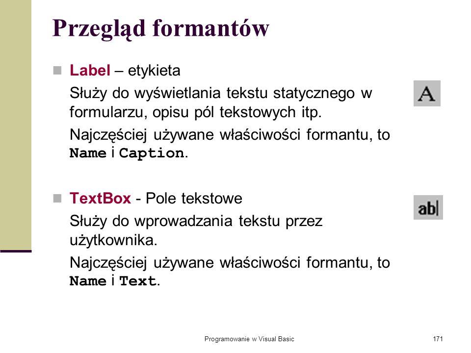 Programowanie w Visual Basic171 Przegląd formantów Label – etykieta Służy do wyświetlania tekstu statycznego w formularzu, opisu pól tekstowych itp. N