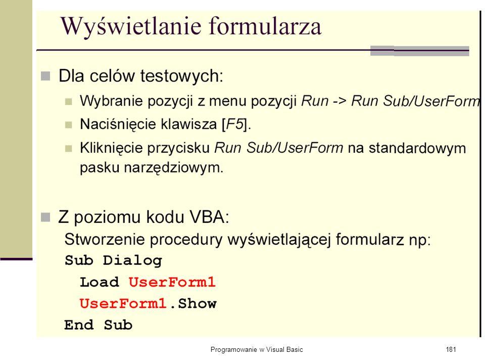 Programowanie w Visual Basic181