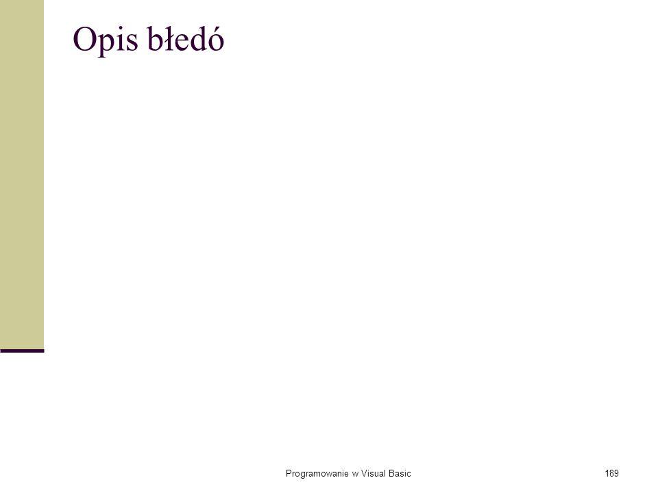Programowanie w Visual Basic189 Opis błedó