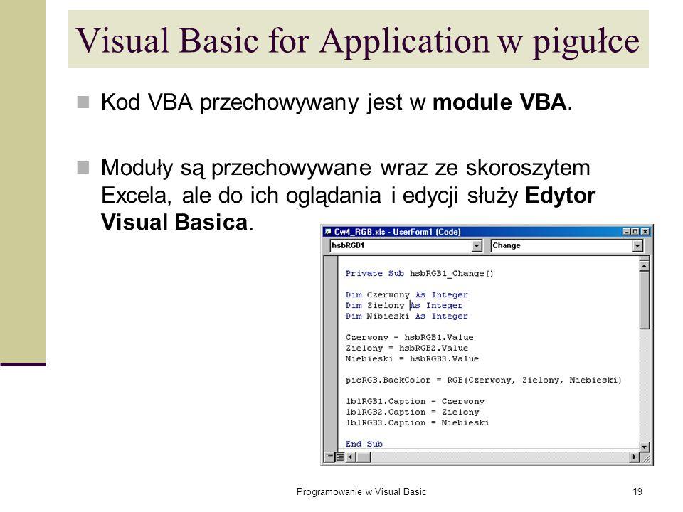 Programowanie w Visual Basic19 Visual Basic for Application w pigułce Kod VBA przechowywany jest w module VBA. Moduły są przechowywane wraz ze skorosz