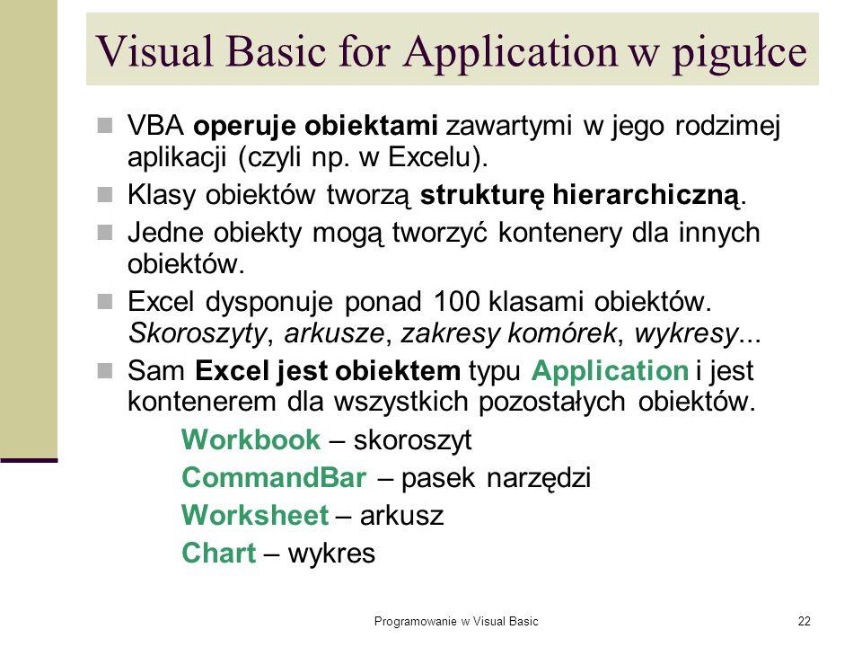 Programowanie w Visual Basic22 Visual Basic for Application w pigułce VBA operuje obiektami zawartymi w jego rodzimej aplikacji (czyli np. w Excelu).