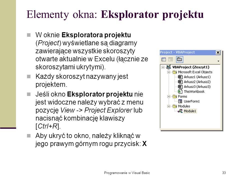 Programowanie w Visual Basic33 Elementy okna: Eksplorator projektu W oknie Eksploratora projektu (Project) wyświetlane są diagramy zawierające wszystk