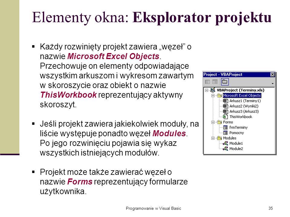 Programowanie w Visual Basic35 Każdy rozwinięty projekt zawiera węzeł o nazwie Microsoft Excel Objects. Przechowuje on elementy odpowiadające wszystki