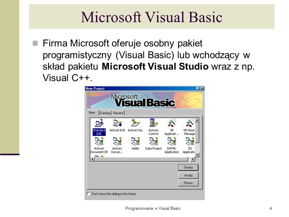 Programowanie w Visual Basic4 Microsoft Visual Basic Firma Microsoft oferuje osobny pakiet programistyczny (Visual Basic) lub wchodzący w skład pakiet