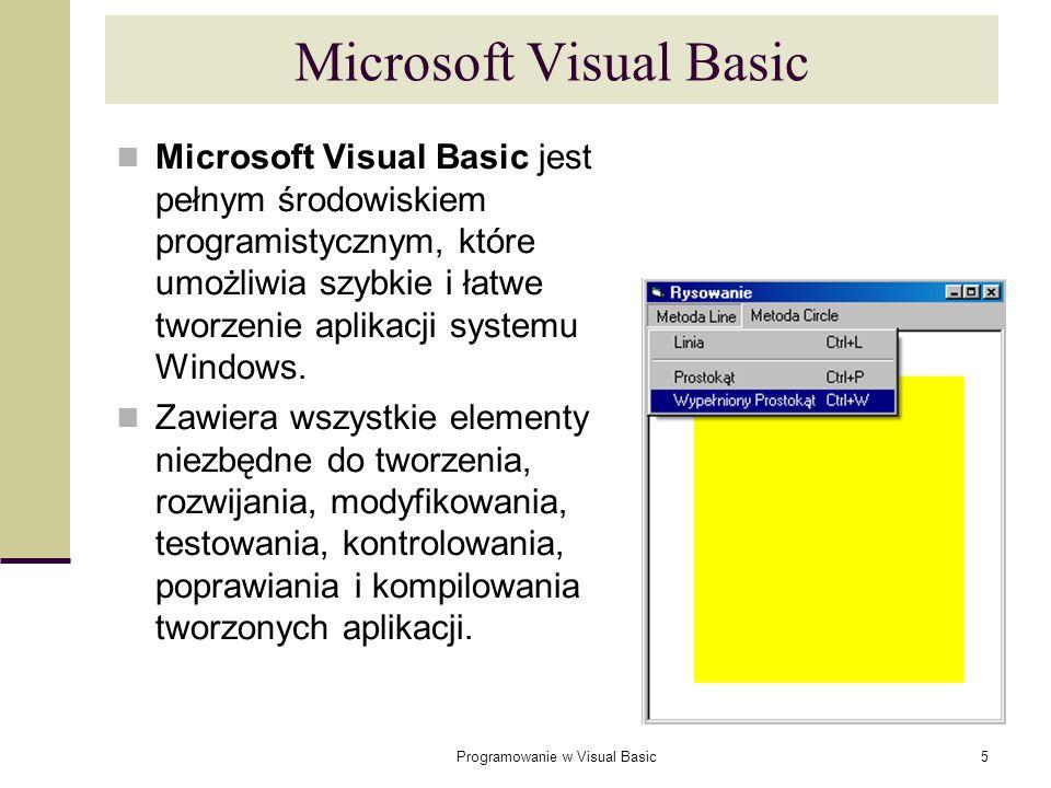 Programowanie w Visual Basic5 Microsoft Visual Basic Microsoft Visual Basic jest pełnym środowiskiem programistycznym, które umożliwia szybkie i łatwe