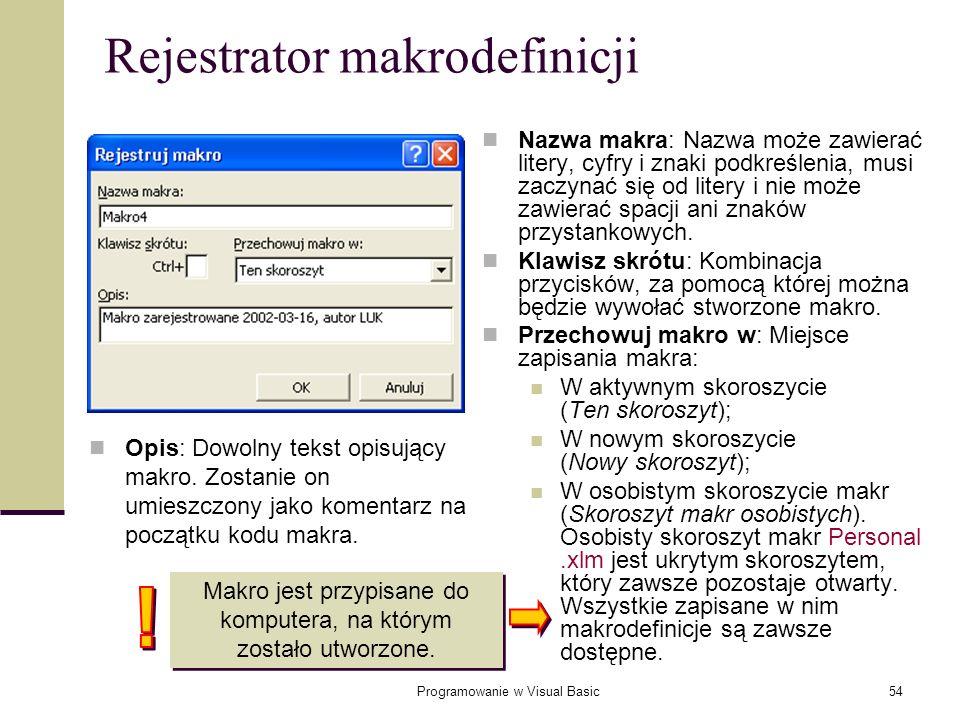 Programowanie w Visual Basic54 Rejestrator makrodefinicji Nazwa makra: Nazwa może zawierać litery, cyfry i znaki podkreślenia, musi zaczynać się od li