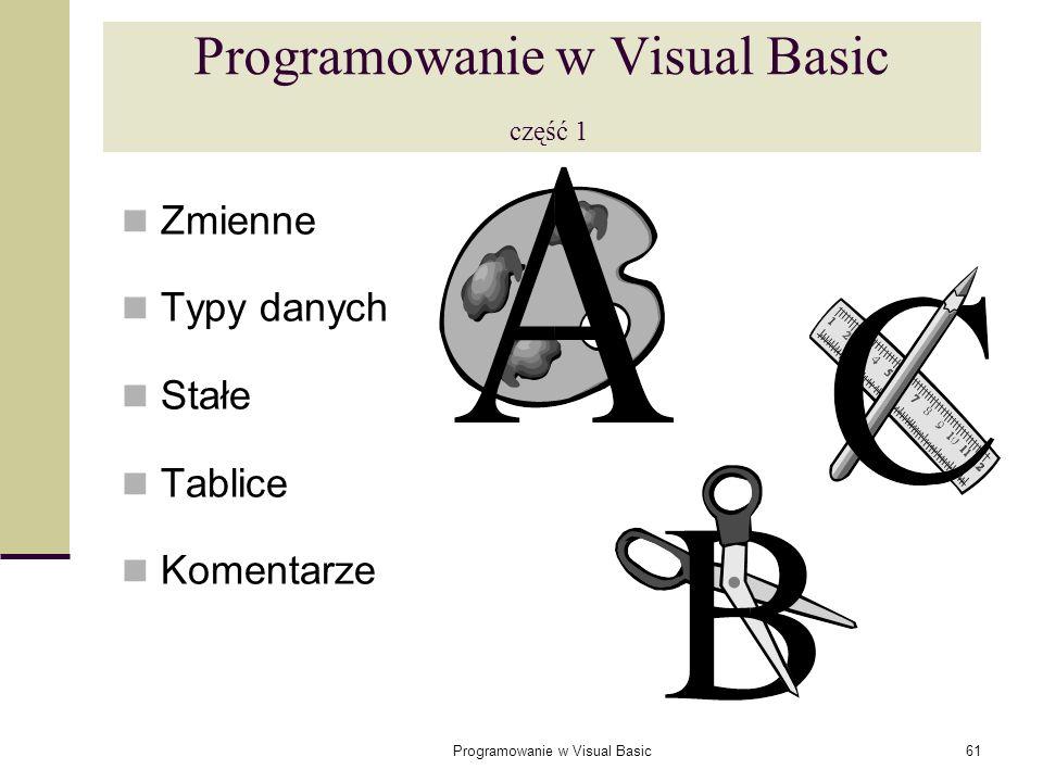 Programowanie w Visual Basic61 Programowanie w Visual Basic część 1 Zmienne Typy danych Stałe Tablice Komentarze