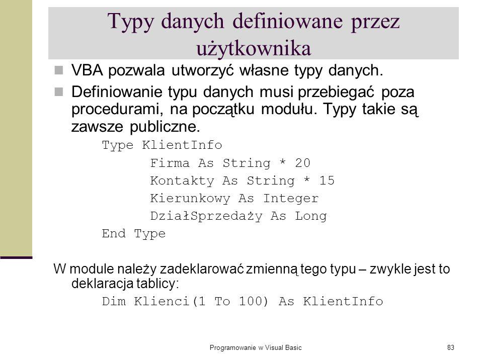 Programowanie w Visual Basic83 Typy danych definiowane przez użytkownika VBA pozwala utworzyć własne typy danych. Definiowanie typu danych musi przebi