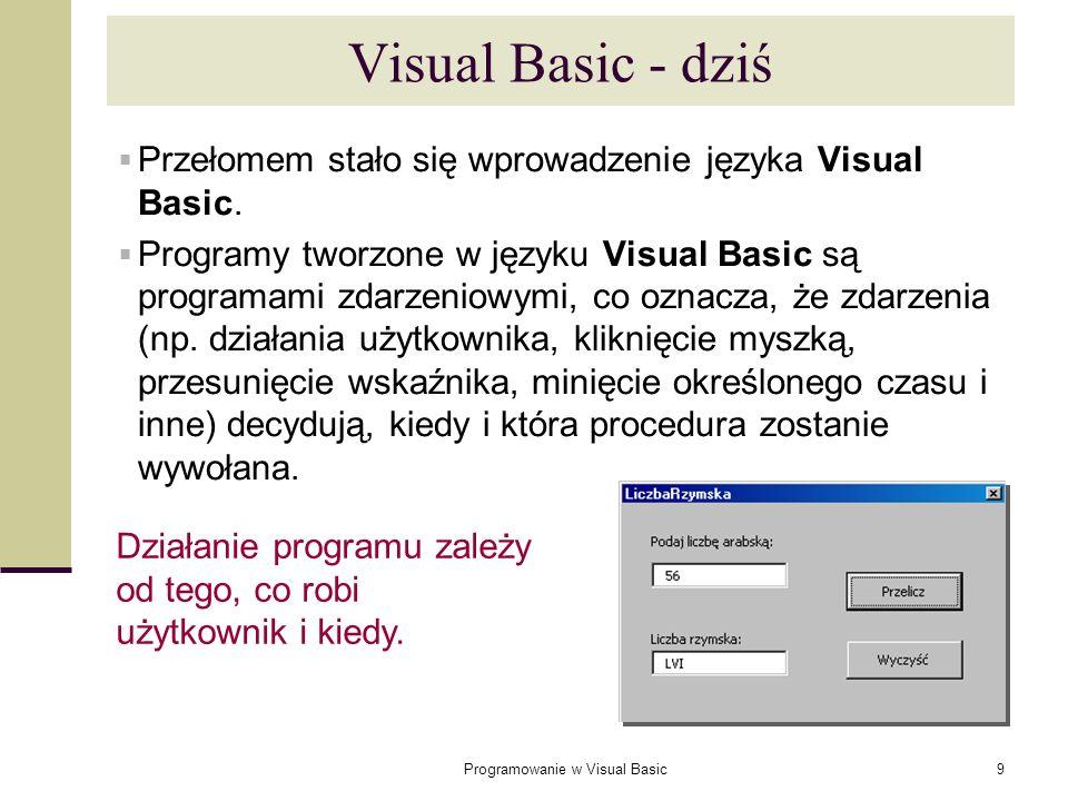 Programowanie w Visual Basic9 Visual Basic - dziś Przełomem stało się wprowadzenie języka Visual Basic. Programy tworzone w języku Visual Basic są pro