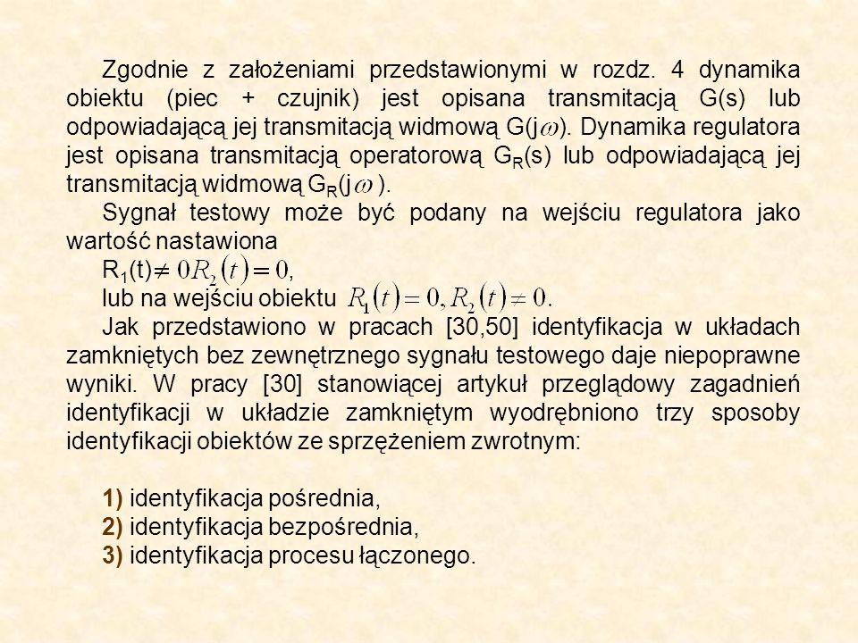 Zgodnie z założeniami przedstawionymi w rozdz. 4 dynamika obiektu (piec + czujnik) jest opisana transmitacją G(s) lub odpowiadającą jej transmitacją w