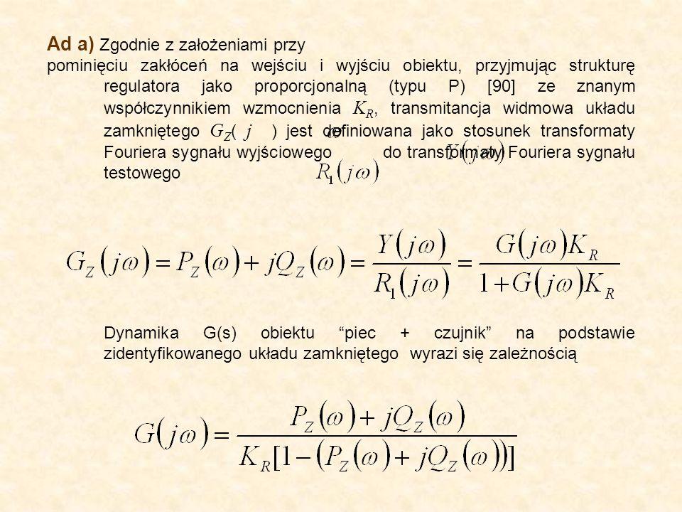 Ad a) Zgodnie z założeniami przy pominięciu zakłóceń na wejściu i wyjściu obiektu, przyjmując strukturę regulatora jako proporcjonalną (typu P) [90] ze znanym współczynnikiem wzmocnienia K R, transmitancja widmowa układu zamkniętego G Z ( j ) jest definiowana jako stosunek transformaty Fouriera sygnału wyjściowego do transformaty Fouriera sygnału testowego Dynamika G(s) obiektu piec + czujnik na podstawie zidentyfikowanego układu zamkniętego wyrazi się zależnością