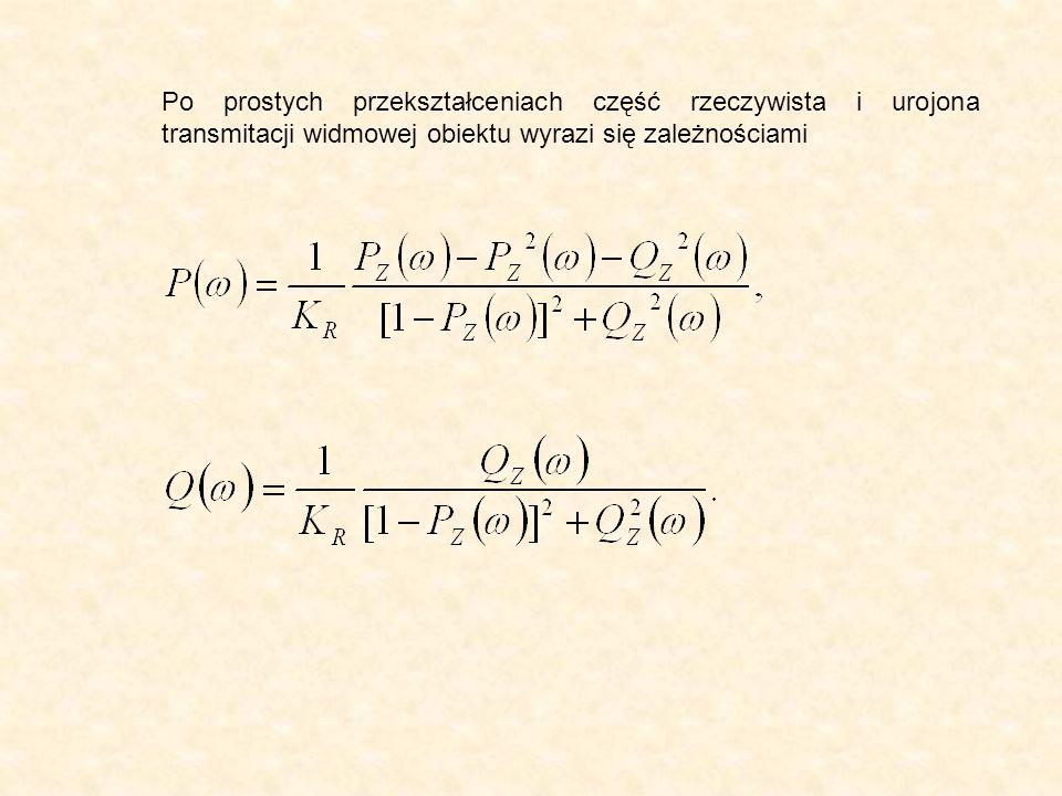 Po prostych przekształceniach część rzeczywista i urojona transmitacji widmowej obiektu wyrazi się zależnościami