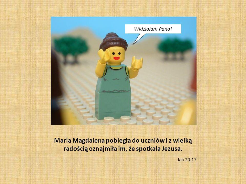 Maria Magdalena pobiegła do uczniów i z wielką radością oznajmiła im, że spotkała Jezusa. Jan 20:17 Widziałam Pana!