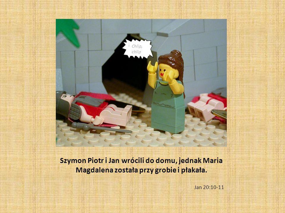 Szymon Piotr i Jan wrócili do domu, jednak Maria Magdalena została przy grobie i płakała. Jan 20:10-11 Chlip, chlip