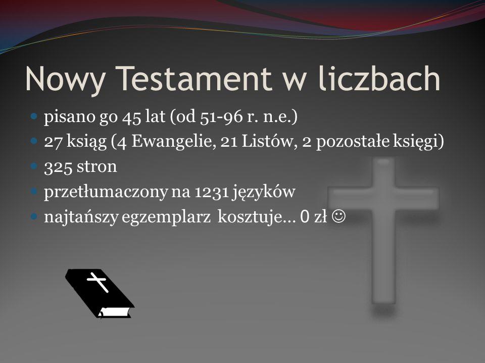 Nowy Testament w liczbach pisano go 45 lat (od 51-96 r. n.e.) 27 ksiąg (4 Ewangelie, 21 Listów, 2 pozostałe księgi) 325 stron przetłumaczony na 1231 j