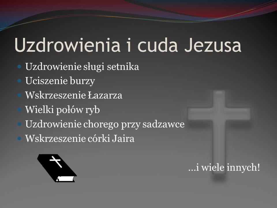 Uzdrowienia i cuda Jezusa Uzdrowienie sługi setnika Uciszenie burzy Wskrzeszenie Łazarza Wielki połów ryb Uzdrowienie chorego przy sadzawce Wskrzeszen