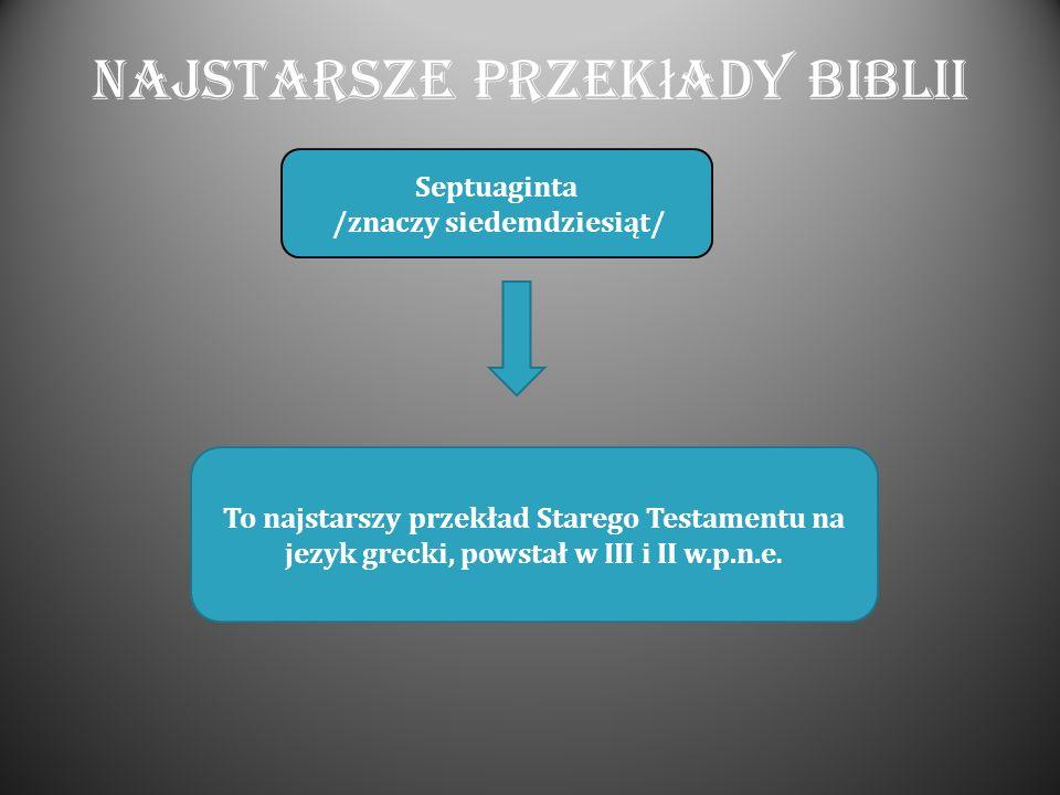 Najstarsze przek ł ady Biblii Septuaginta /znaczy siedemdziesiąt/ To najstarszy przekład Starego Testamentu na jezyk grecki, powstał w III i II w.p.n.