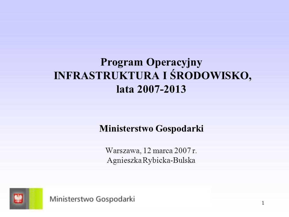 1 M Program Operacyjny INFRASTRUKTURA I ŚRODOWISKO, lata 2007-2013 Ministerstwo Gospodarki Warszawa, 12 marca 2007 r. Agnieszka Rybicka-Bulska