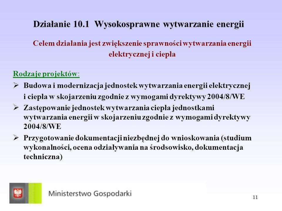 11 Działanie 10.1 Wysokosprawne wytwarzanie energii Rodzaje projektów: Budowa i modernizacja jednostek wytwarzania energii elektrycznej i ciepła w sko
