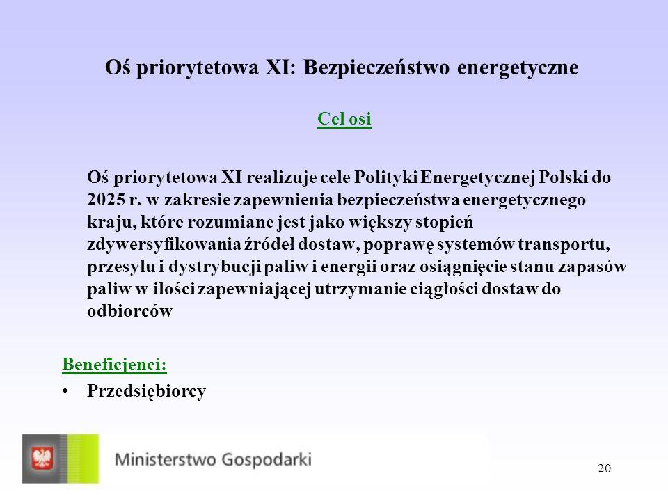 20 Oś priorytetowa XI: Bezpieczeństwo energetyczne Cel osi Oś priorytetowa XI realizuje cele Polityki Energetycznej Polski do 2025 r. w zakresie zapew