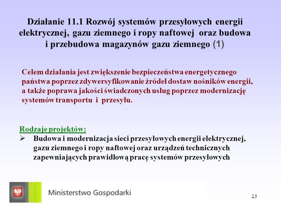 23 Działanie 11.1 Rozwój systemów przesyłowych energii elektrycznej, gazu ziemnego i ropy naftowej oraz budowa i przebudowa magazynów gazu ziemnego (1