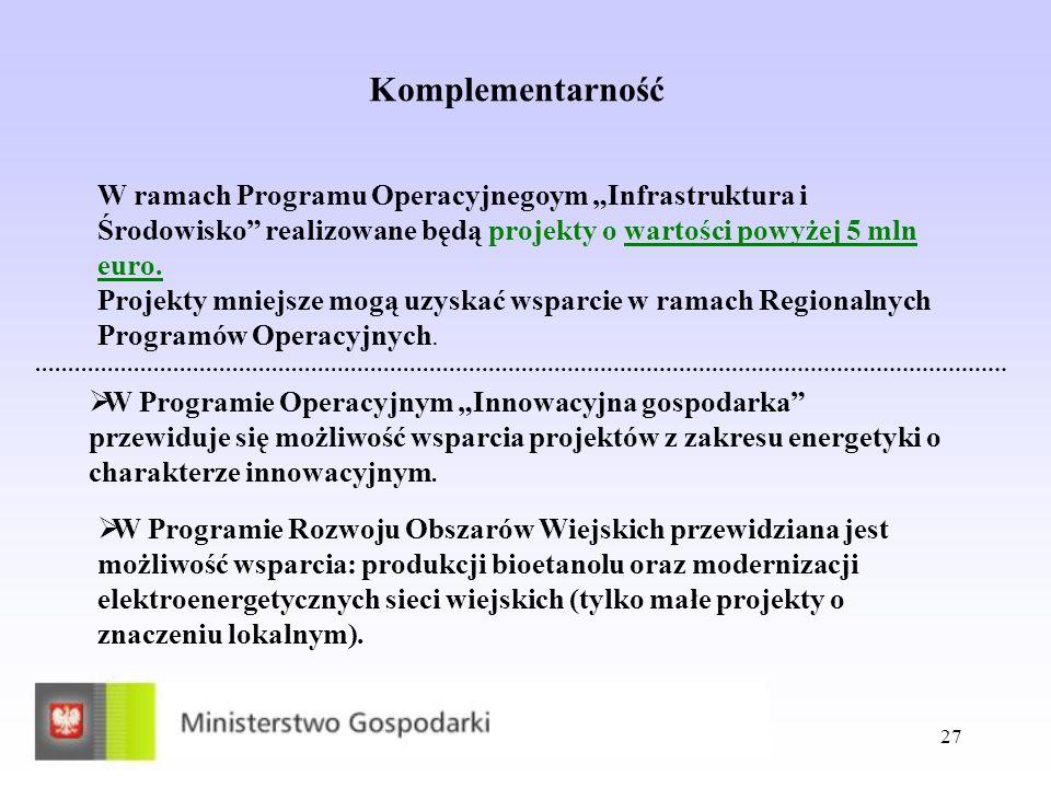 27 Komplementarność W ramach Programu Operacyjnegoym Infrastruktura i Środowisko realizowane będą projekty o wartości powyżej 5 mln euro. Projekty mni