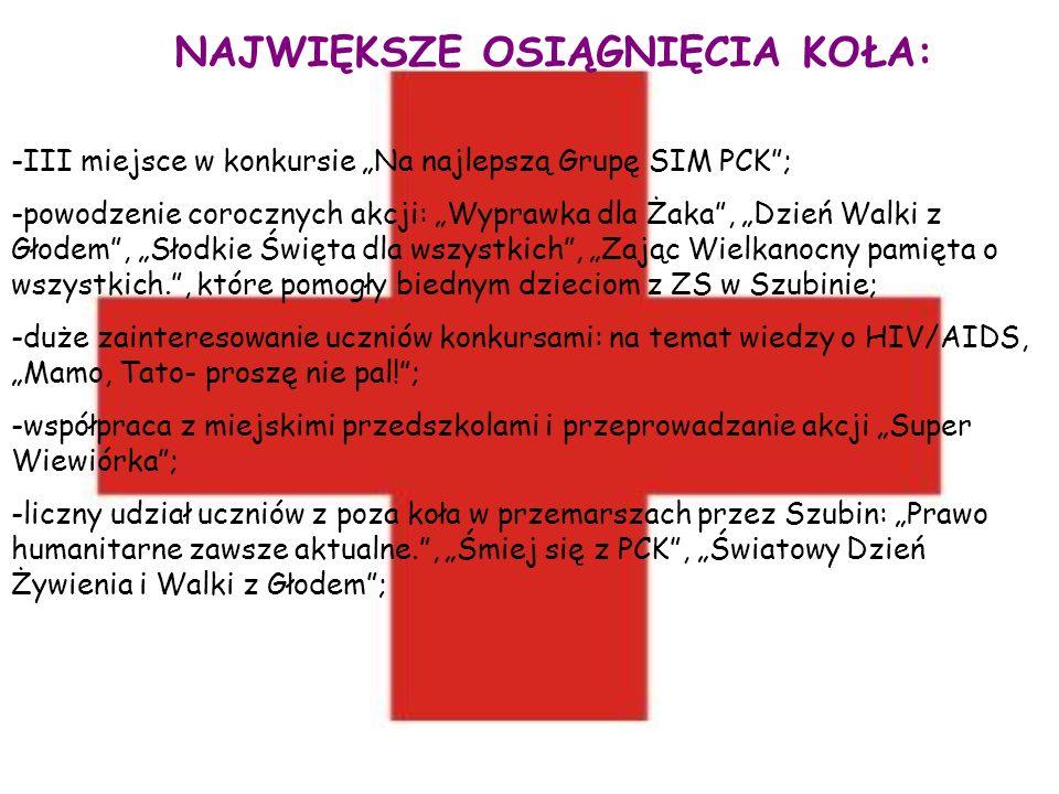 NAJWIĘKSZE OSIĄGNIĘCIA KOŁA: -III miejsce w konkursie Na najlepszą Grupę SIM PCK; -powodzenie corocznych akcji: Wyprawka dla Żaka, Dzień Walki z Głode