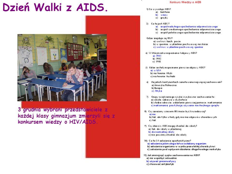 Dzień Walki z AIDS. 3 grudnia wybrani przedstawiciele z każdej klasy gimnazjum zmierzyli się z konkursem wiedzy o HIV/AIDS.