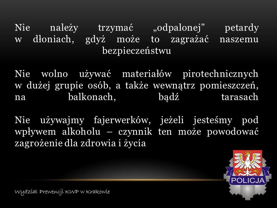 W okresie sylwestrowo – noworocznym, pamiętajmy także o zwierzętach, które mogą bardzo negatywnie reagować na strzały związane z używaniem materiałów pirotechnicznych W takiej sytuacji można skontaktować się z lekarzem weterynarii, który poradzi, jak najlepiej w takiej sytuacji pomóc naszemu pupilowi Wydział Prewencji KWP w Krakowie
