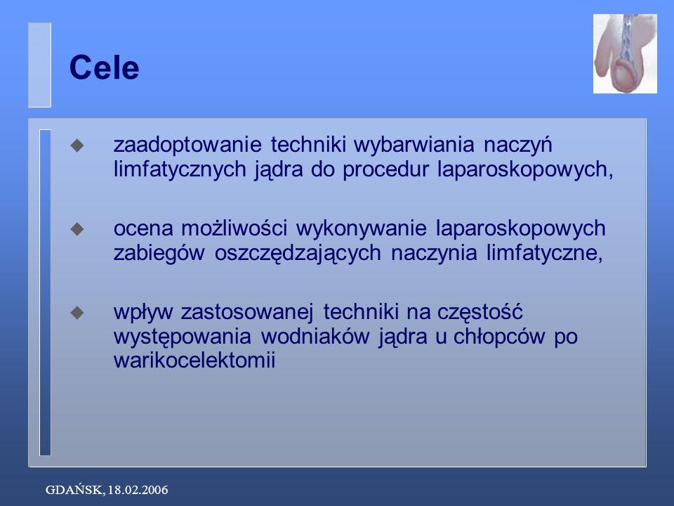 GDAŃSK, 18.02.2006 Cele zaadoptowanie techniki wybarwiania naczyń limfatycznych jądra do procedur laparoskopowych, ocena możliwości wykonywanie laparo