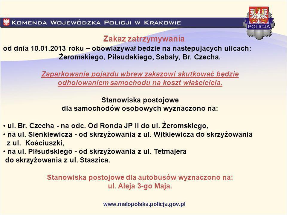 Zakaz zatrzymywania od dnia 10.01.2013 roku – obowiązywał będzie na następujących ulicach: Żeromskiego, Piłsudskiego, Sabały, Br. Czecha. Zaparkowanie