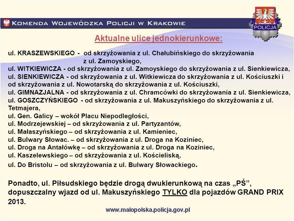 Aktualne ulice jednokierunkowe: ul. KRASZEWSKIEGO - od skrzyżowania z ul.