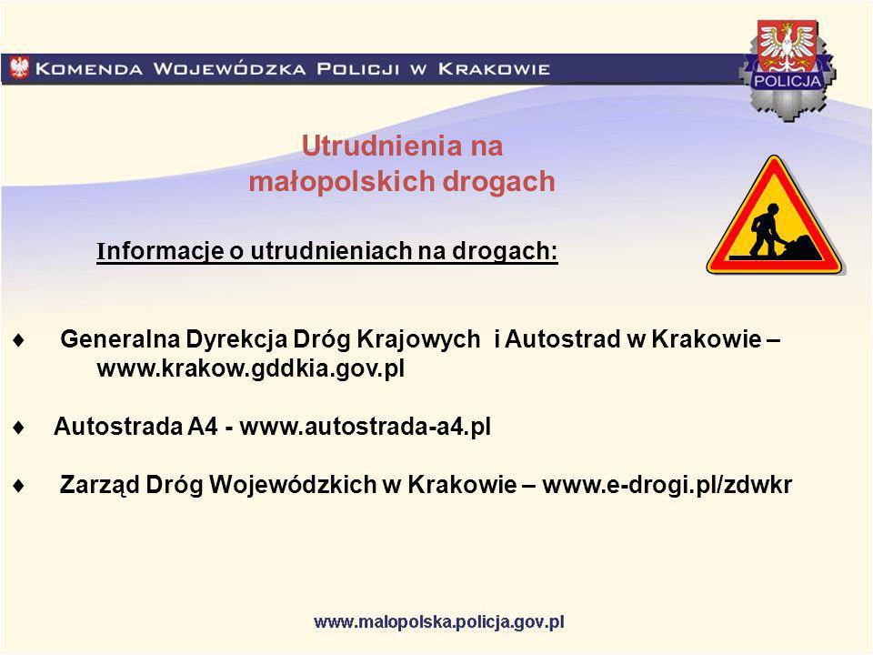 Utrudnienia na małopolskich drogach I nformacje o utrudnieniach na drogach: Generalna Dyrekcja Dróg Krajowych i Autostrad w Krakowie – www.krakow.gddk