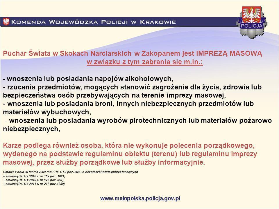 Puchar Świata w Skokach Narciarskich w Zakopanem jest IMPREZĄ MASOWĄ w związku z tym zabrania się m.in.: - wnoszenia lub posiadania napojów alkoholowy