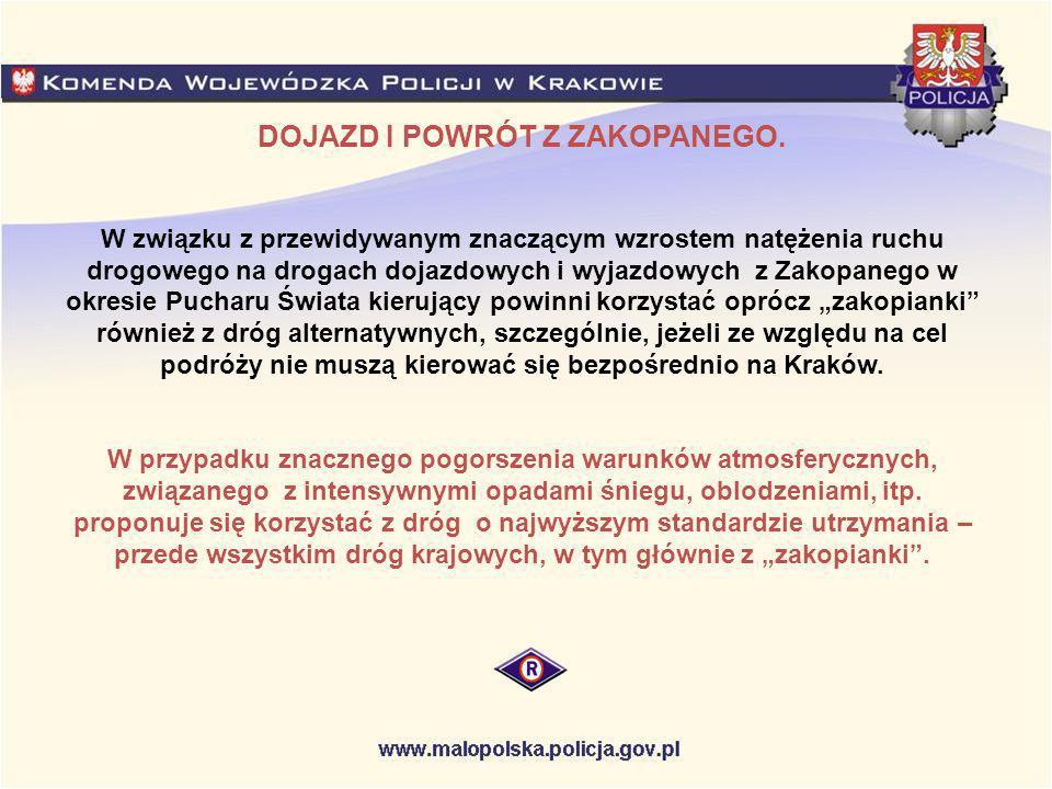 Skomielna Biała Wadowice Nowy Targ Czarny Dunajec Jabłonka Rabka Zakopane Nowy Sącz Myślenice Brzesko Tarnów Głogoczów Kraków Mszana Dln.