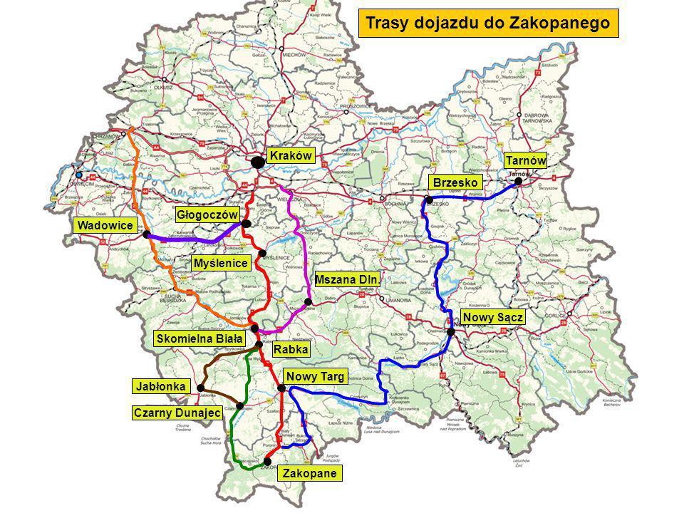 Kraków (Południowe Autostradowe Obejście Krakowa) – Myślenice (droga krajowa nr 7) – Skomielna Biała (droga krajowa nr 7) – Rabka (droga krajowa nr 47) – Nowy Targ (droga krajowa nr 47) - Zakopane Trasy alternatywne - dla samochodów osobowych: Kraków (Południowe Autostradowe Obejście Krakowa) – Wieliczka – droga wojewódzka nr 964 – Dobczyce – Kasina Wielka – droga krajowa nr 28 – Mszana Dolna - Rabka – droga krajowa nr 7 – droga krajowa nr 47 - Zakopane Rabka – droga krajowa nr 7 – Jabłonka – droga wojewódzka nr 957 – Czarny Dunajec – droga wojewódzka nr 958 - Zakopane Rabka – droga wojewódzka nr 958 – Czarny Dunajec – droga wojewódzka nr 958 - Zakopane Kraków (Południowe Autostradowe Obejście Krakowa) – droga krajowa nr 7 – Głogoczów – droga krajowa nr 52 – Wadowice – droga krajowa nr 28 - Sucha Beskidzka - Skomielna Biała - droga krajowa nr 7 - Zakopane Autostrada A4 – Chrzanów – droga wojewódzka nr 933 – Oświęcim – droga krajowa nr 44 – Zator - droga krajowa nr 44 i droga krajowa nr 28- Wadowice – droga krajowa nr 28 - Sucha Beskidzka - Skomielna Biała - droga krajowa nr 7 - Zakopane Tarnów – droga krajowa nr 4 – Brzesko – droga krajowa nr 75 - Nowy Sącz – droga wojewódzka nr 969 – Nowy Targ – droga krajowa nr 49 – Bukowina Tatrzańska - Droga wojewódzka nr 960 - Zakopane Trasa główna: Trasy dojazdu do Zakopanego
