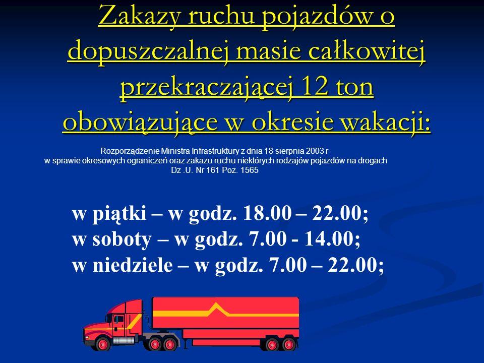 Zakazy ruchu pojazdów o dopuszczalnej masie całkowitej przekraczającej 12 ton obowiązujące w okresie wakacji: w piątki – w godz.