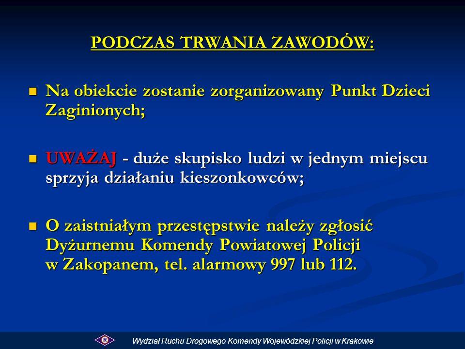 W związku z przewidywanym znaczącym wzrostem natężenia ruchu drogowego na drogach dojazdowych i wyjazdowych z Zakopanego w okresie Letniego Pucharu Świata kierujący powinni korzystać oprócz zakopianki również z dróg alternatywnych, szczególnie, jeżeli ze względu na cel podróży nie muszą kierować się bezpośrednio do Krakowa.
