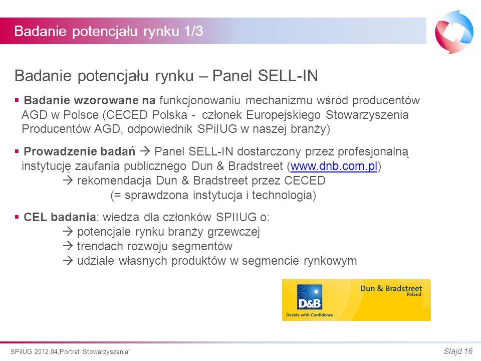 Slajd 16 SPiIUG 2012.04Portret Stowarzyszenia Badanie potencjału rynku 1/3 Badanie potencjału rynku – Panel SELL-IN Badanie wzorowane na funkcjonowaniu mechanizmu wśród producentów AGD w Polsce (CECED Polska - członek Europejskiego Stowarzyszenia Producentów AGD, odpowiednik SPiIUG w naszej branży) Prowadzenie badań Panel SELL-IN dostarczony przez profesjonalną instytucję zaufania publicznego Dun & Bradstreet (www.dnb.com.pl) rekomendacja Dun & Bradstreet przez CECED (= sprawdzona instytucja i technologia)www.dnb.com.pl CEL badania: wiedza dla członków SPIIUG o: potencjale rynku branży grzewczej trendach rozwoju segmentów udziale własnych produktów w segmencie rynkowym