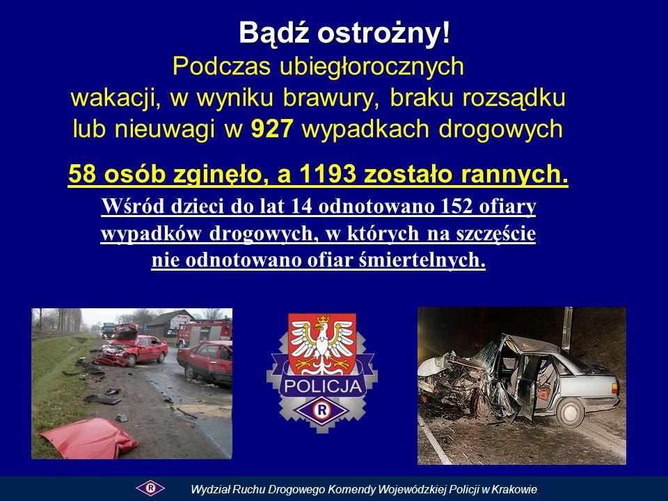 Bądź ostrożny! Bądź ostrożny! Podczas ubiegłorocznych wakacji, w wyniku brawury, braku rozsądku lub nieuwagi w 927 wypadkach drogowych 58 osób zginęło