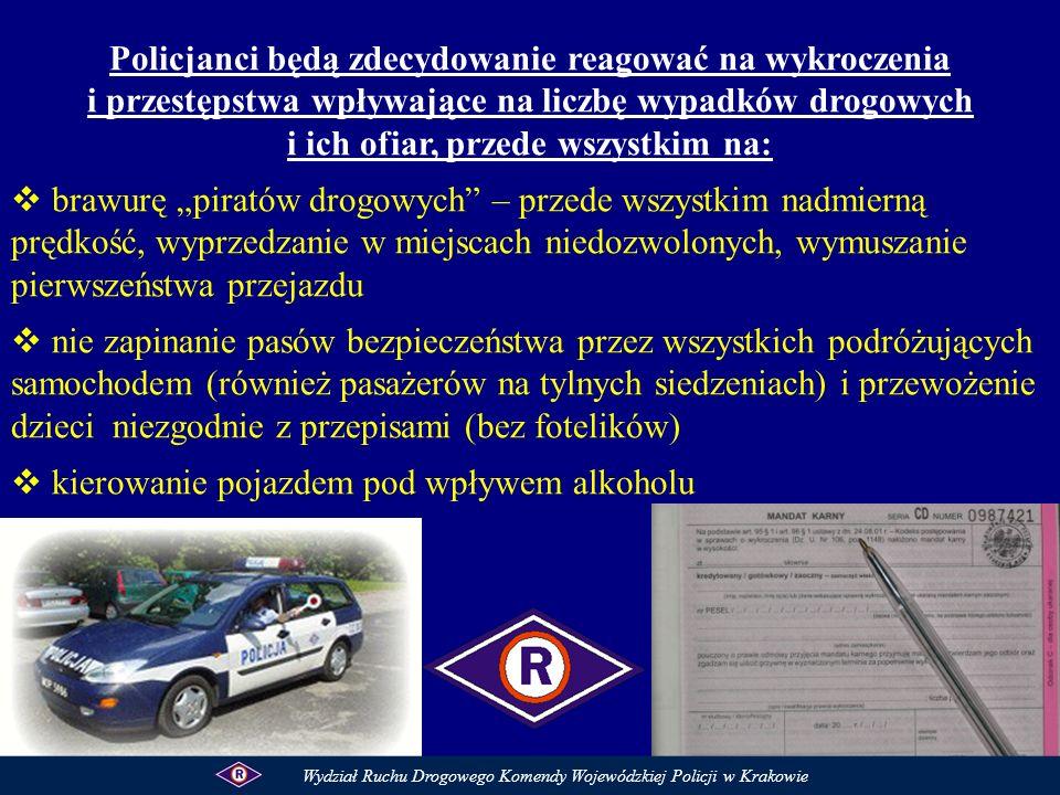 Policjanci będą zdecydowanie reagować na wykroczenia i przestępstwa wpływające na liczbę wypadków drogowych i ich ofiar, przede wszystkim na: brawurę