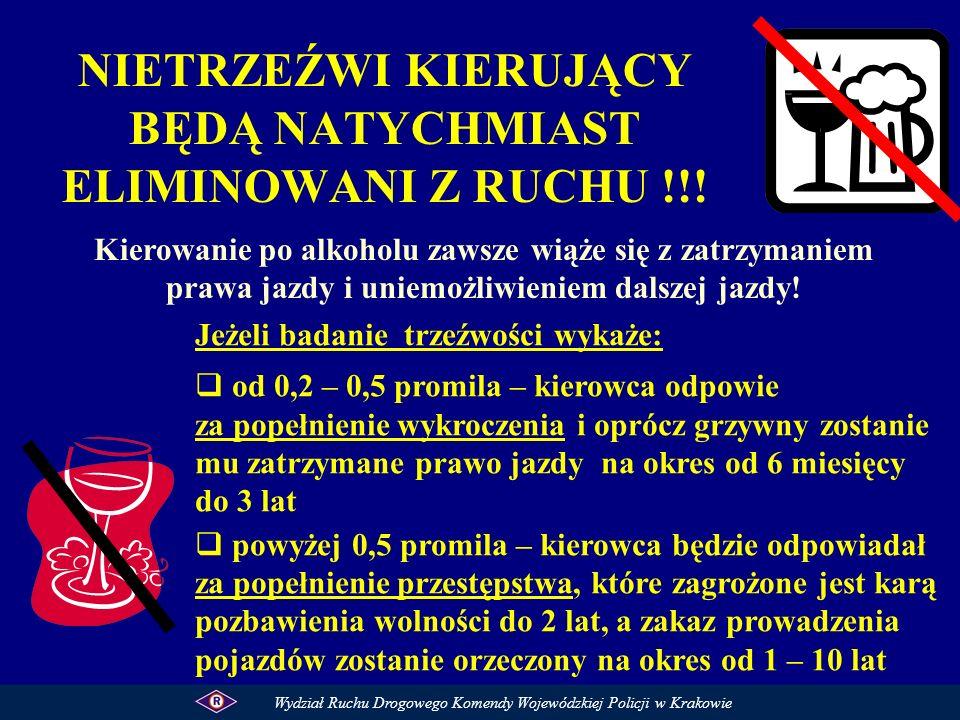 NIETRZEŹWI KIERUJĄCY BĘDĄ NATYCHMIAST ELIMINOWANI Z RUCHU !!! Kierowanie po alkoholu zawsze wiąże się z zatrzymaniem prawa jazdy i uniemożliwieniem da