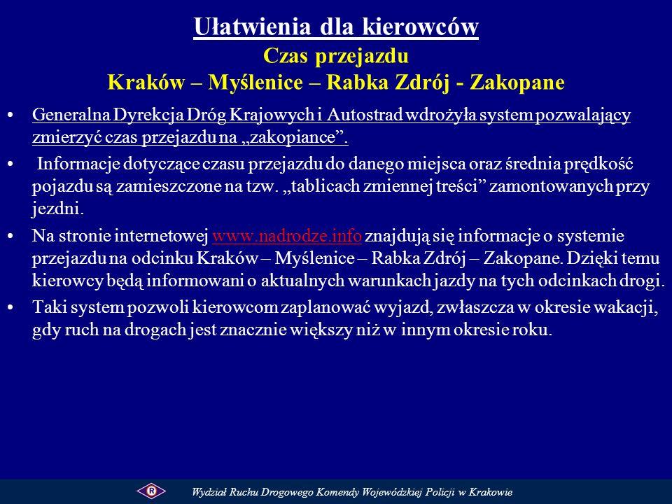 Ułatwienia dla kierowców Czas przejazdu Kraków – Myślenice – Rabka Zdrój - Zakopane Generalna Dyrekcja Dróg Krajowych i Autostrad wdrożyła system pozw