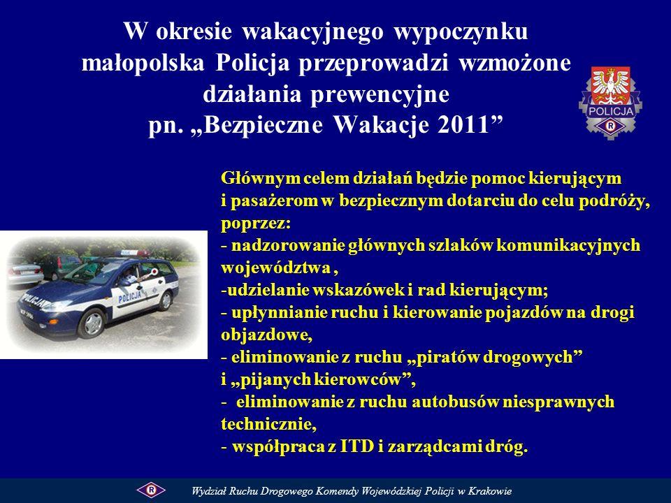 W okresie wakacyjnego wypoczynku małopolska Policja przeprowadzi wzmożone działania prewencyjne pn. Bezpieczne Wakacje 2011 Głównym celem działań będz