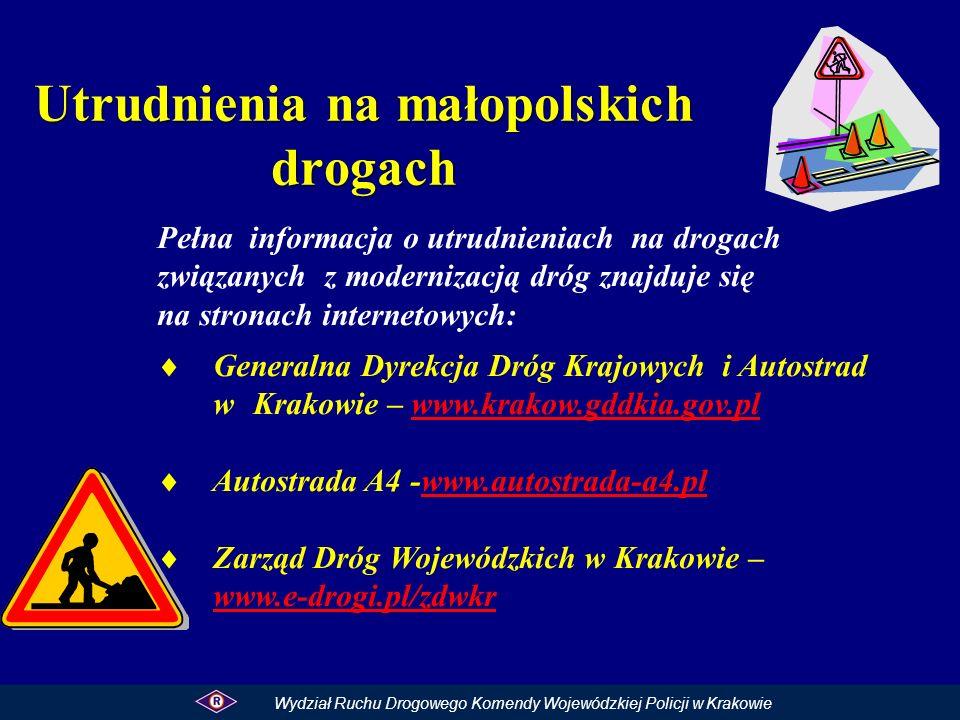 Utrudnienia na małopolskich drogach Pełna informacja o utrudnieniach na drogach związanych z modernizacją dróg znajduje się na stronach internetowych: