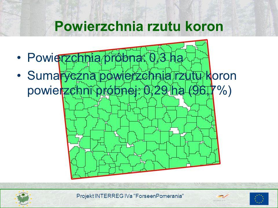 Powierzchnia rzutu koron Powierzchnia próbna: 0,3 ha Sumaryczna powierzchnia rzutu koron powierzchni próbnej: 0,29 ha (96,7%) Projekt INTERREG IVa