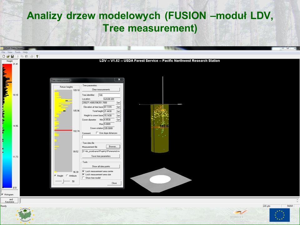 Analizy drzew modelowych (FUSION –moduł LDV, Tree measurement)