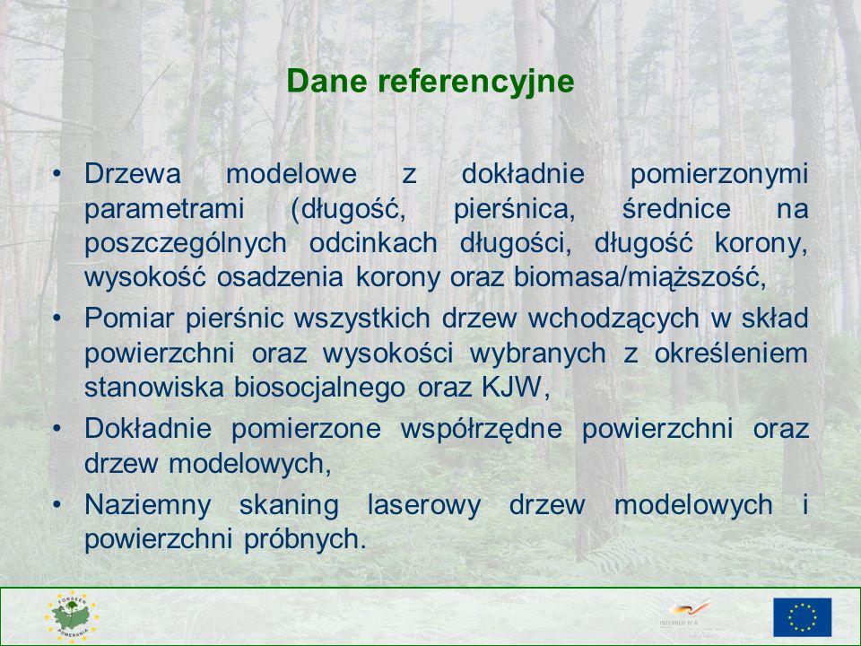 Dane referencyjne Drzewa modelowe z dokładnie pomierzonymi parametrami (długość, pierśnica, średnice na poszczególnych odcinkach długości, długość kor
