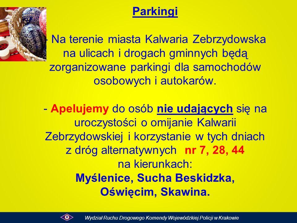 Parkingi - Na terenie miasta Kalwaria Zebrzydowska na ulicach i drogach gminnych będą zorganizowane parkingi dla samochodów osobowych i autokarów. - A